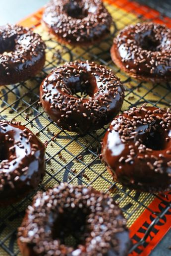Brownie Cake Donuts with Chocolate Glaze
