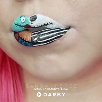 Nightmare Before Christmas Makeup Lip Art Beauty Tutorial