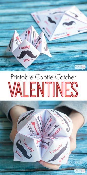 Printable Paper Fortune Teller Valentine's Day Card