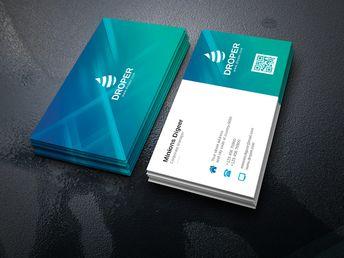 Aqua Professional Corporate Business Card Template - Graphic Templates
