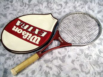 f8b3e8edcb Sold Vintage 1970s WILSON EXTRA Aluminum Tennis Racket with Head Cover Made  in USA