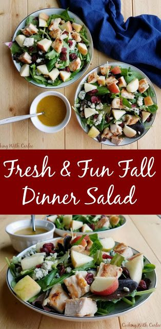 Crunch fresh apples, a homemade dressing, yummy chicken and more come together in this fall inspired dinner salad. It also makes a great lunch to bridge the gap between summer and fall! #appleweek #salad #dinner #recipe