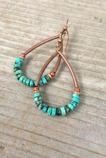 Turquoise Earrings Turquoise Jewelry Hoop Earrings