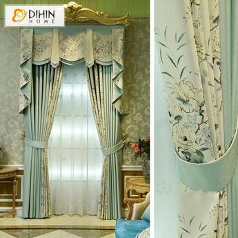 DIHIN HOME Elegant White Flowers Printed,Blackout Curtains Grommet Window Curtain for Living Room ,52x84-inch,1 Panel