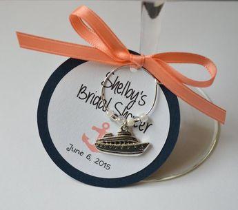 1 40 nautical bridal shower wine charm favors wedding rehearsal dinner birthday