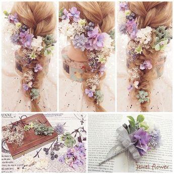バラとラムズイヤーのガーランドタイプの髪飾り