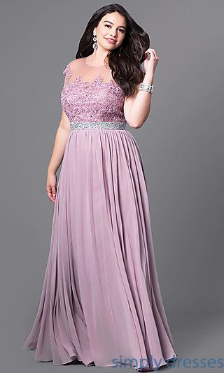 30359244e07 Long Plus-Size Formal Dress with Illusion-Lace Bodice