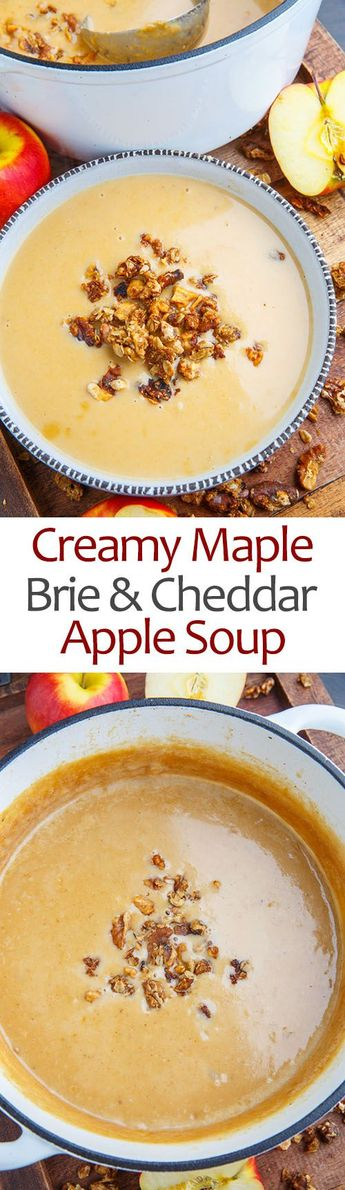 A wonderfully creamy, sweet and savoury apple and brie soup with maple and cheddar topped with a crunchy walnut and oat crumble!