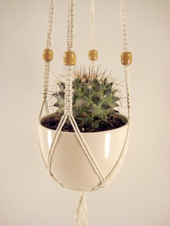 Medium Macrame Plant Hanger - Cotton With Light Brown Wooden Beads, 36 inches/91cm's Long