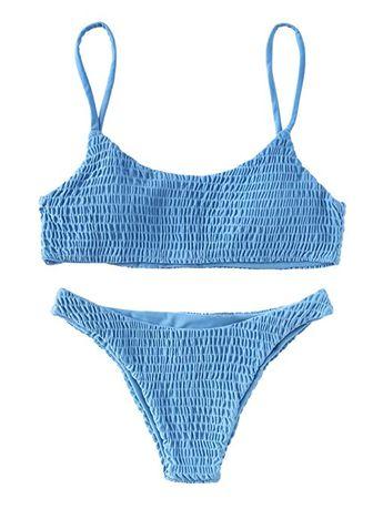 0d96a129bc92e Price: $16.99 SweatyRocks Women's Sexy Bathing Suit Solid Color Halter  Shirred Bikini Swimsuit Blue XL