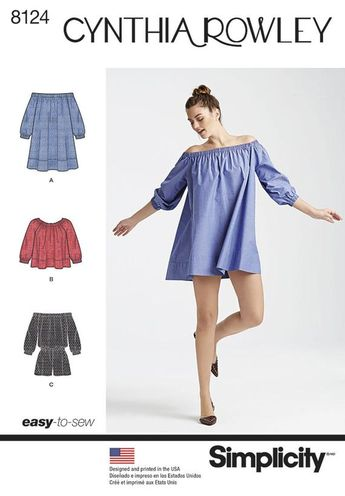 Simplicity 8124 Misses' Romper and Mini Dress or Top - Size XS - XL