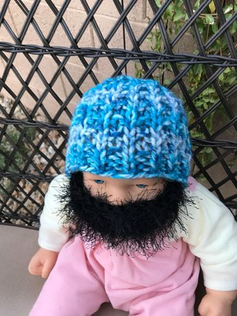 ff378429436 READY TO SHIP Baby Bearded Beanie - Blue White Hat with Fuzzy Black Beard 0-