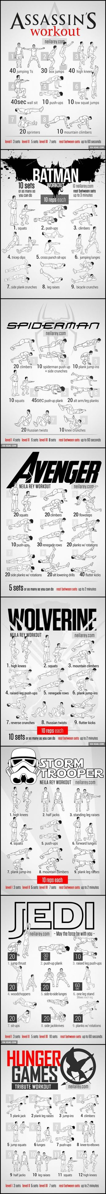 Workout for Assassin, Batman, Spiderman, Avenger, Wolverine... if you don't know how consult a specialist :D
