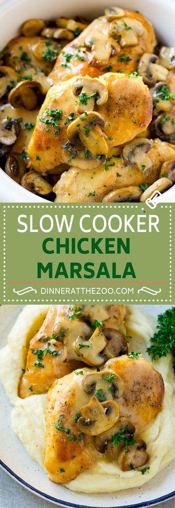 Slow Cooker Chicken Marsala Recipe | Crock Pot Chicken Marsala | Chicken with Mushrooms | Chicken Marsala Recipe