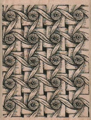 Rubber stamp Tangle Zentangle wood Mounted 18812 twisted circles