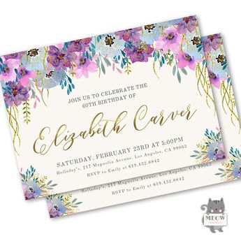 60th Birthday Invitations For Women Invitation Female Printable Or Printed Surprise