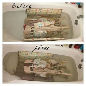 """Every mama should wash they're play pen this way. :) Not just the normal """"wipe down"""". Fill up your tub with the hottest water possible. Add 1 1/2 cups of laundry detergent 1/2 vinegar 1/4 cup baking soda Mix in water. Let set for thirty minutes then flip and leave for another 30 min. Hose down with the shower hose or outside garden hose. Let air dry outside or in the empty tub over night. Repeat if you have a really dirty play pen. Or suggested every 1-2 months wash again. Happy washing"""