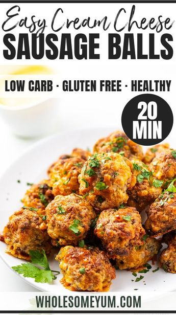 See how to make keto sausage balls with cream cheese... 6 ingredients + 25 minutes! This EASY sausage ball recipe makes an addictive low carb appetizer, meal, or snack.