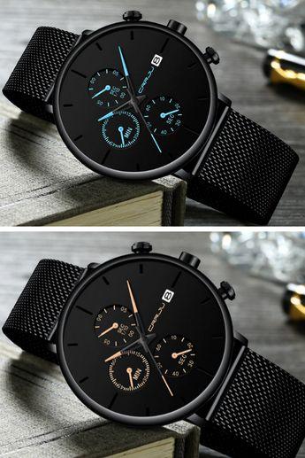 Cazonia minimalist black stainless steel watch