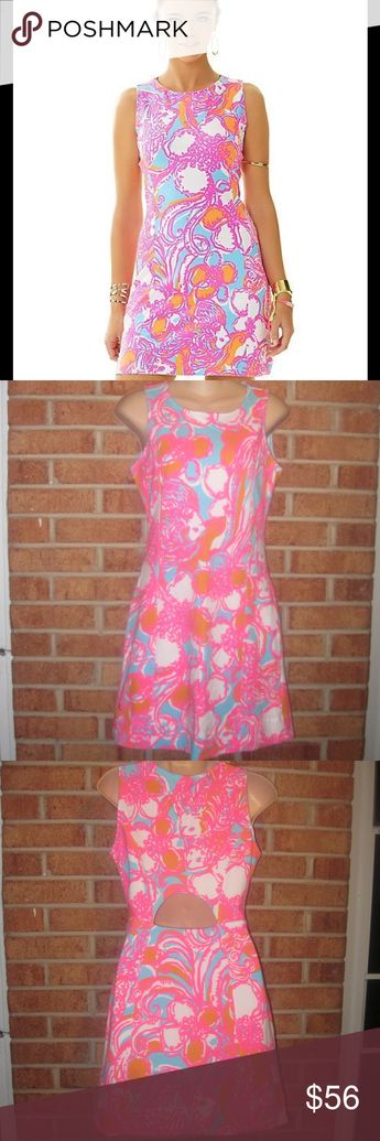ea7e2289af3e3f Lilly Pulitzer Whiting Cut Out Shift Dress Feeling Tanked Print. Size: XS.  Length