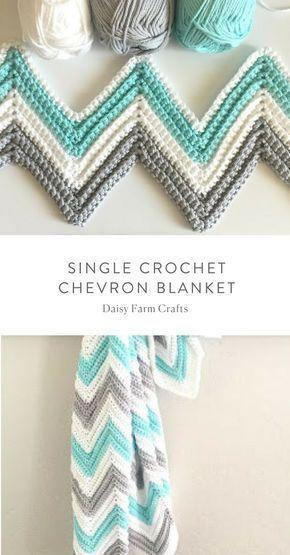 Free Pattern - Single Crochet Chevron Blanket #crochet