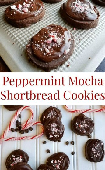 These peppermint mocha shortbread cookies are just like the coffee house drink but in chewable form. Put some on your Christmas cookie trays to take them to the next level! #chocolate #cookies #christmas #christmascookies #food #recipe