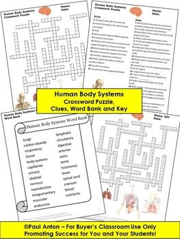 Human Body Systems Science Crossword Puzzle, 5th Grade Earl