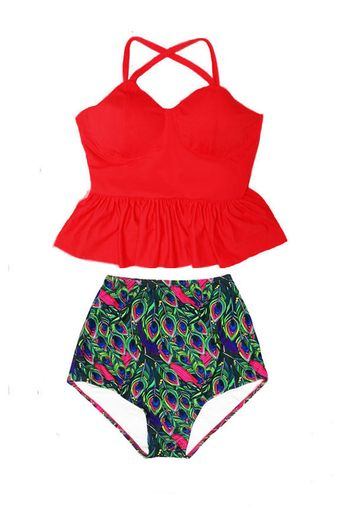 60c40f4766310 Red Peplum Tankini Long Straps Top and Peacock Feather Print High waist  waisted Pinup Bottom Designer