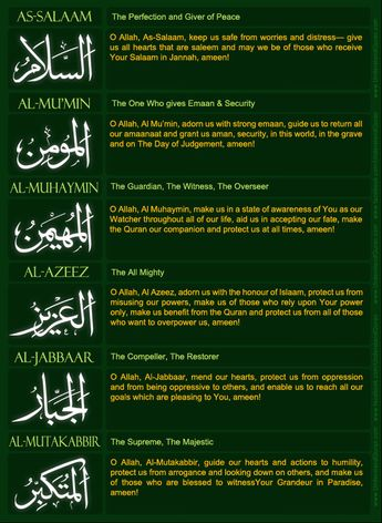 ANSWERS to Yesterday's NAMES of ALLAH REVIEW QUIZ