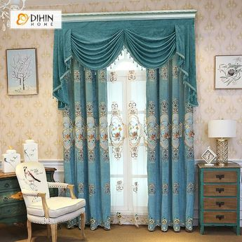 DIHIN HOME Flower Embroidered Blue Valance ,Blackout Curtains Grommet Window Curtain for Living Room ,52x84-inch,1 Panel