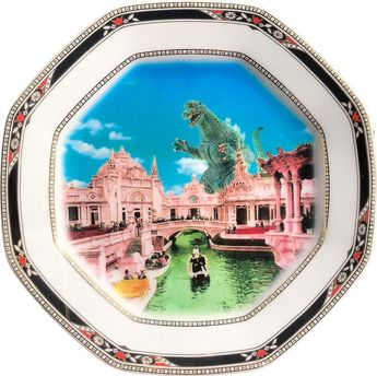 Romantic Victorian Landscape - Godzilla - Vintage Porcelain Plate - #0678