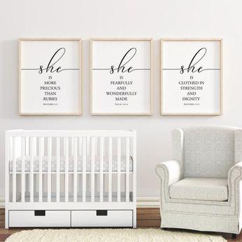 Bible Verses nursery printable, Proverbs 3:15, Nursery Wall Art, Nursery Decor, Baby Shower Gift, Baby Girl Nursery, Set of 3