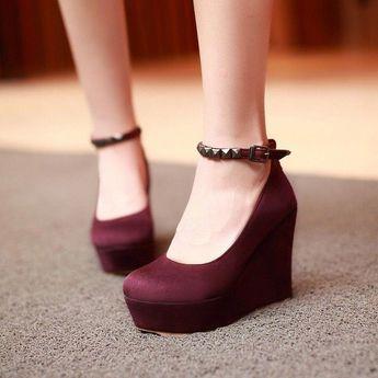 Women Wedges Studded Ankle Straps High Heels Pumps Platform Shoes 9736