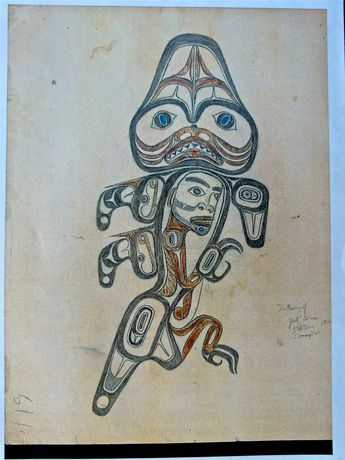 d50ad25dc An elaborate Haida tatoo design of a human form within a dogfish by Charles  Edenshaw,