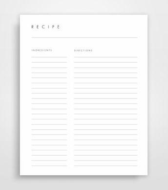 half letter size recipe page recipe page 5 5 x 8 5