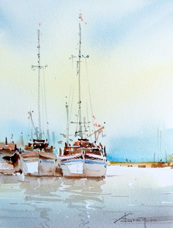 Corneliu Dragan Targoviste - Watercolour Acuarela peisaj marine 29 // evanescentescape.com