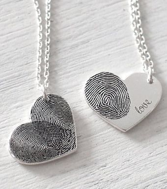 Meaningful Personalized fingerprint necklace for mom