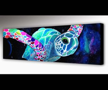 Sea Turtle Wall Art   Outer Space   Surf Art   Sea Turtle Wall Art   Nebula Painting   Nebula Print   Canvas Print   Galaxy Painting   Neon