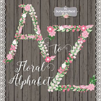Rustic Floral/feather Alphabet Clipa by burlapandlace on @creativemarket