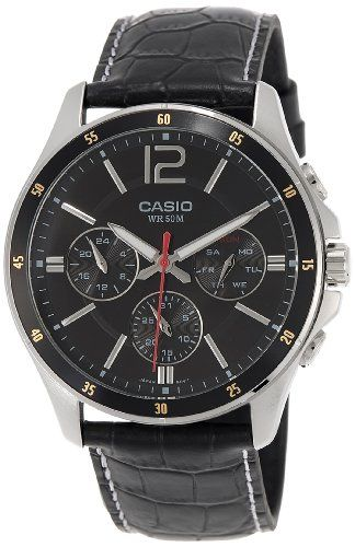 Men's Wrist Watches - Casio MTP1374L1AV Mens Standard Leather Band MultiFunction Black Dial Watch ** Check this awesome product by going to the link at the image.
