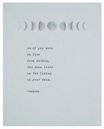 Pablo Neruda poetry art print, moon quote poster, wall decor