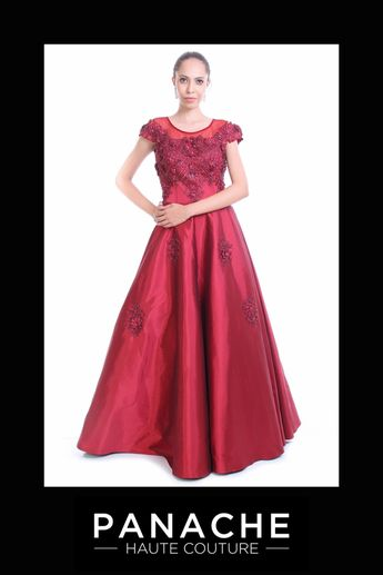 1bcb89935b Panache Haute Couture @panachehautecouture. 29w 0. This Indo-Western gown  is featured in the maroon colour taffeta silk fabric. The
