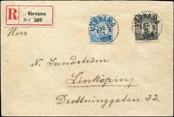 Schweden, Michel 84 und 85 - 1918, 55 Ö. hellblau und 80 Ö. schwarz König Gustav V. zusammen auf R-Brief von VÄRNAMO 12.7.1918 nach Linköping mit rückseitigem Ankunftsstempel vom 13.7.1918, seltene Ausgabe und auf Brief eine große Seltenheit, die Qualität der Marken und des Briefes (rückseitig mit Beschriftungen) ist sehr gut, Fotoattest Obermüller BPP (ME für lose Marken schon 11.000,-)