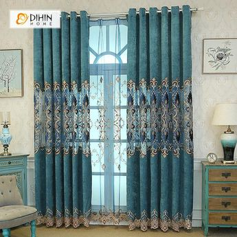 DIHIN HOME Dark Blue Embroidered Exquisite Valance,Blackout Curtains Grommet Window Curtain for Living Room ,52x84-inch,1 Panel