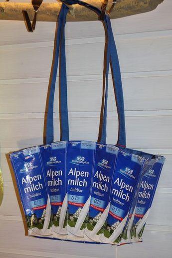 Einkaufstaschen - Einkaufstasche aus TetraPak - ein Designerstück von TaschenMoni bei DaWanda