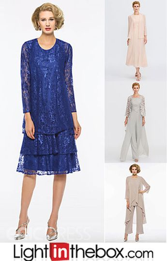Two Piece / Pantsuit / Jumpsuit Jewel Neck Ankle Length Chiffon Mother of the Bride Dress with Ruching by LAN TING Express