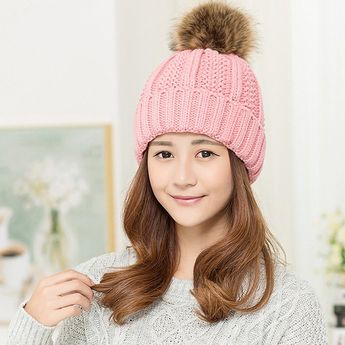 Women Knitted Beanie Hat Winter Thick Ski Caps Dual Layered - Pink(ht012) - 06c179725685