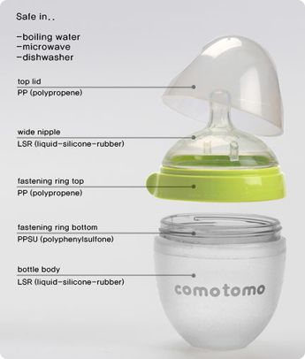 This bottle is a MUST for all breastfed babies!!! Como Tomo Bottle: the new, revolutionary bottle that imitates natural breastfeeding, down to the softness and texture! Safe in boiling water, microwave, and dishwasher, and bpa free!