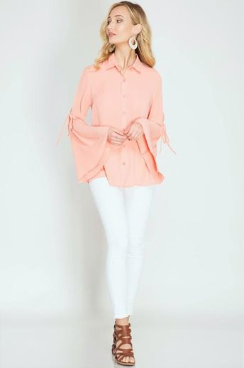 adc7a71992f752 gianni bini • stacy mauve pink bell sleeve blouse New with