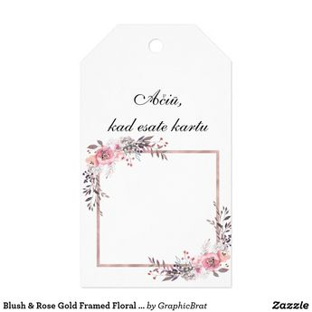 Blush & Rose Gold Framed Floral Wedding Thank You Gift Tags | Zazzle.com